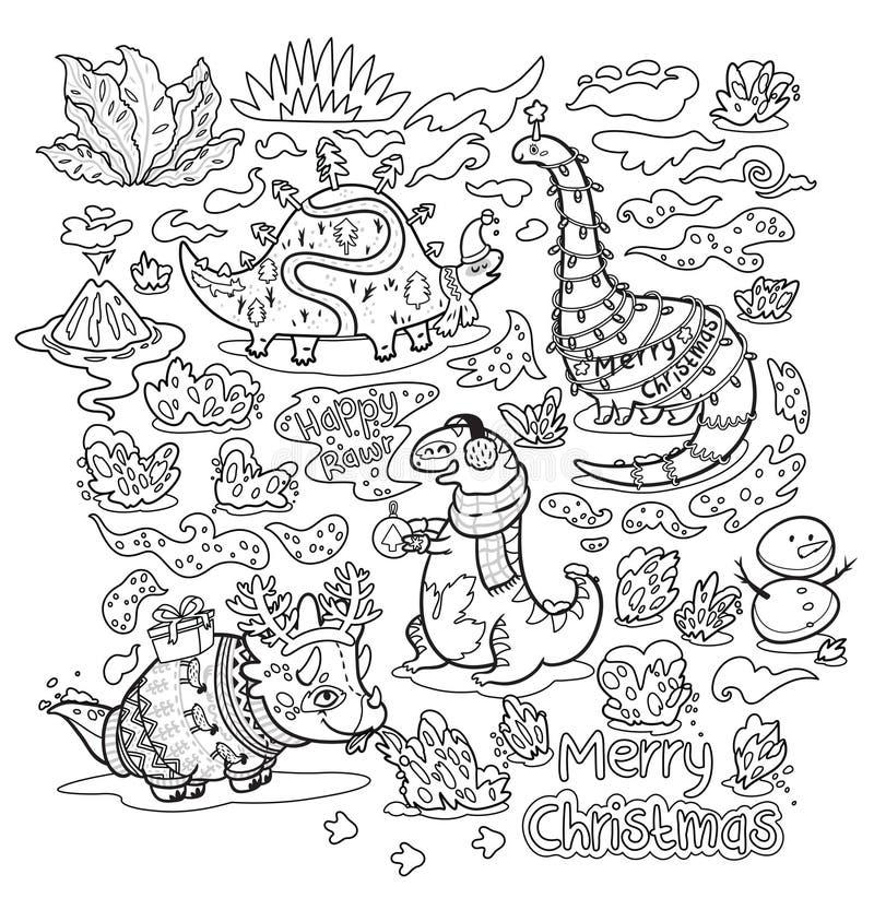Il Natale di contorno stampa con i dinosauri divertenti svegli di festa in maglioni, cappelli e sciarpe Ideale per la stampa di c illustrazione vettoriale