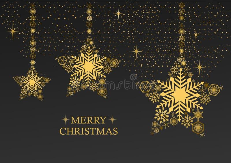 Il natale dorato stars con i fiocchi di neve su un fondo nero illustrazione di stock