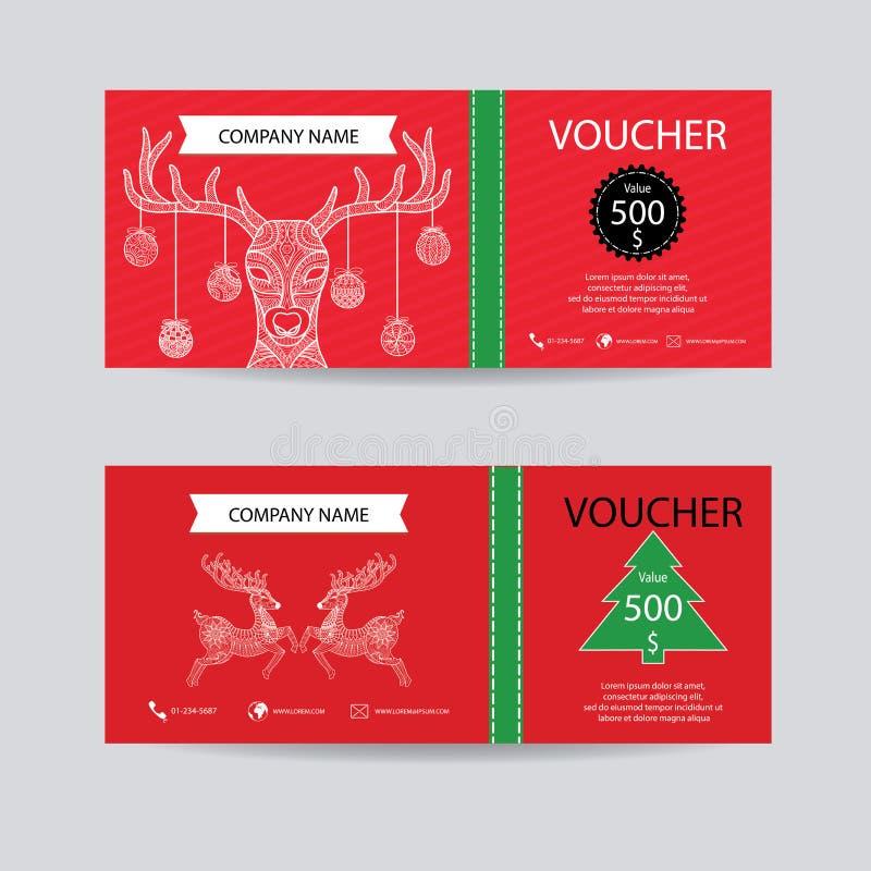 Il Natale ed il buono di regalo del nuovo anno certificano il modello del buono Decori con stile disegnato a mano dettagliato del illustrazione di stock