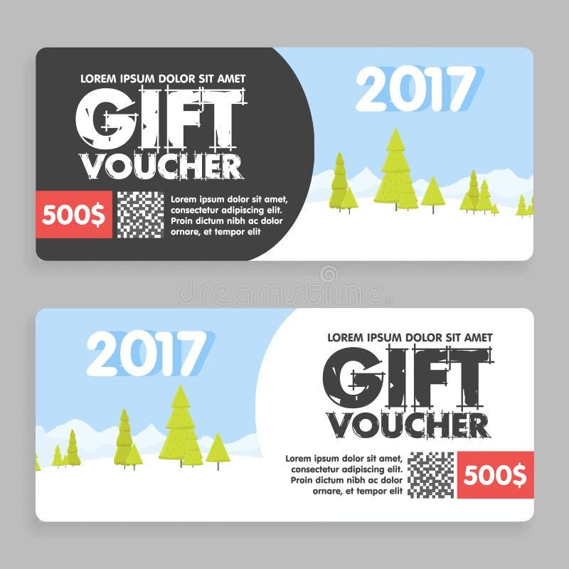 Il Natale ed il buono di regalo del nuovo anno certificano il modello del buono può essere l'uso per la carta di acquisto di affa illustrazione vettoriale