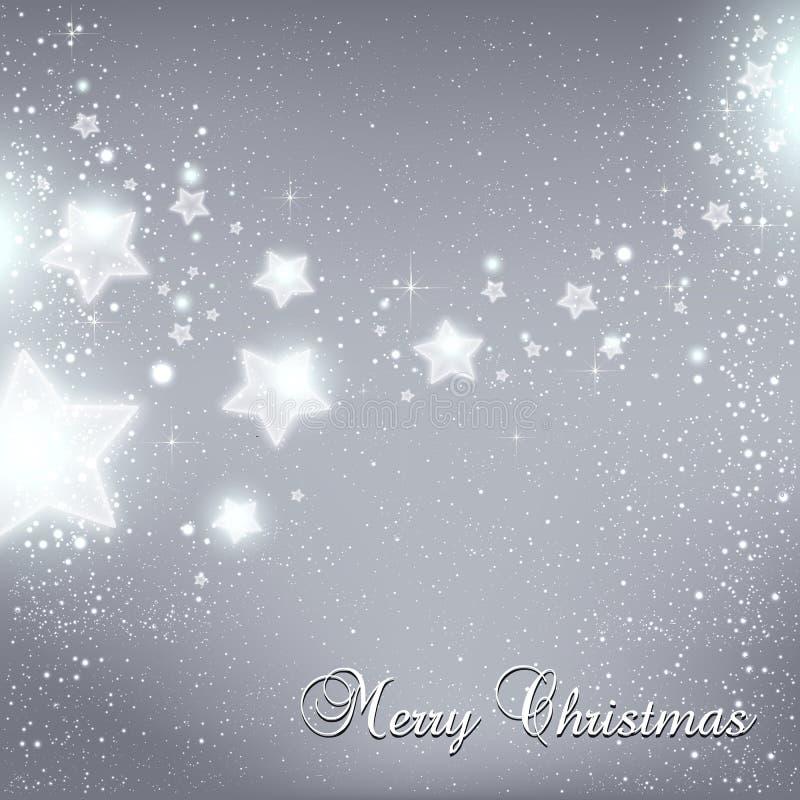 Il Natale ed il nuovo anno stars per la celebrazione su fondo grigio con i punti leggeri, fiocchi di neve illustrazione di stock