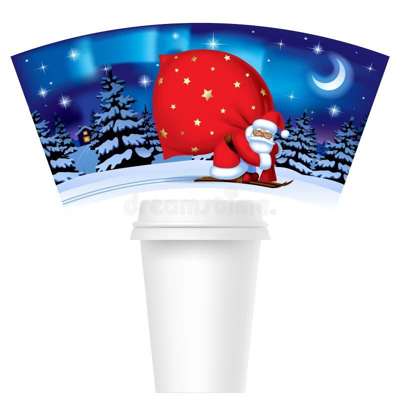 Il Natale ed il nuovo anno progettano la tazza di carta del modello per caffè con royalty illustrazione gratis