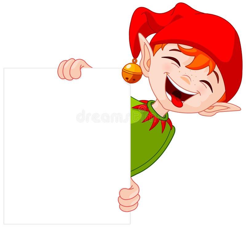 Il Natale Elf tiene il segno royalty illustrazione gratis