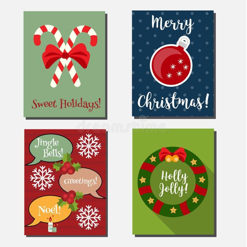 Il Natale, feste del nuovo anno vector le insegne verticali, cartoline d'auguri con i simboli di festa illustrazione di stock