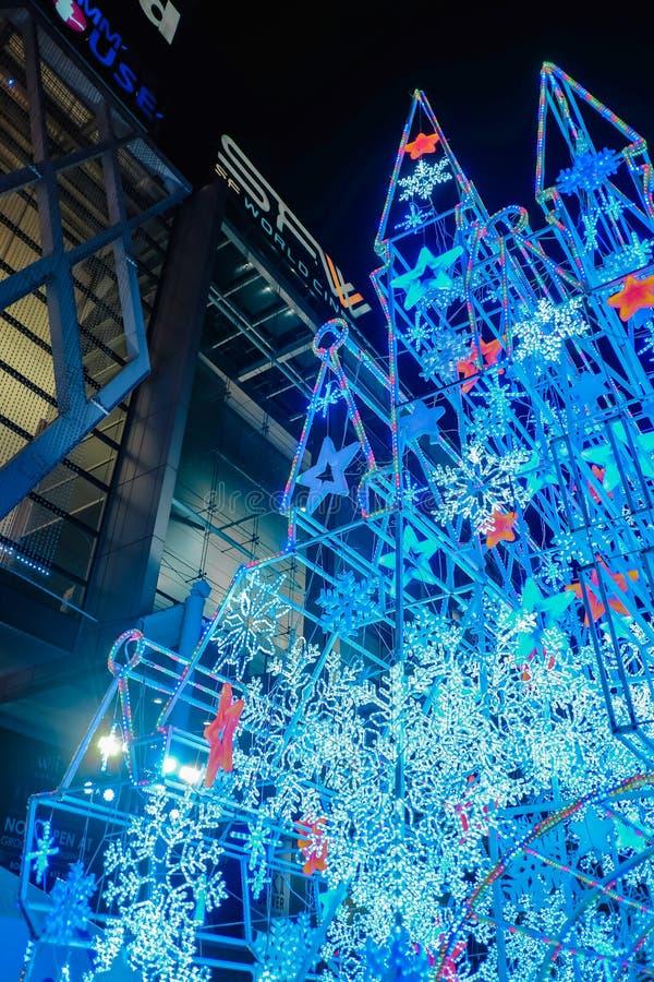 Il Natale fortifica davanti al grande magazzino centrale del mondo, città Tailandia di Bangkok fotografia stock libera da diritti
