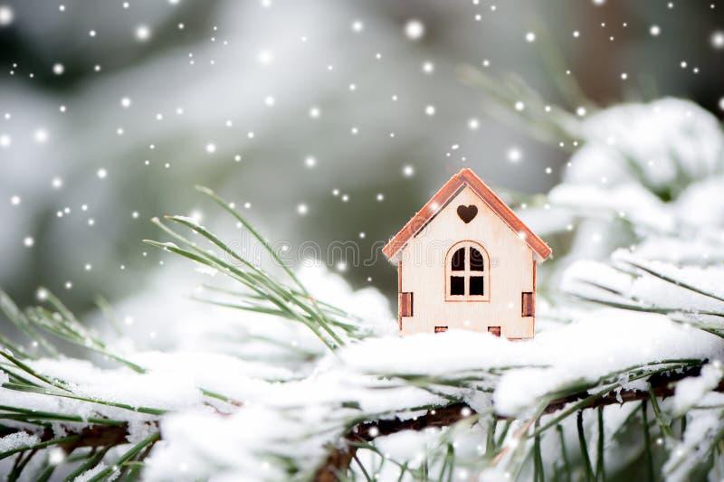 Il Natale gioca la casa su uno sfondo naturale naturale di un fi reale immagine stock libera da diritti