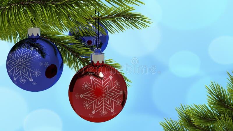 Il Natale ha colorato le palle su una cartolina d'auguri del ramo dell'albero di Natale rappresentazione 3d illustrazione di stock