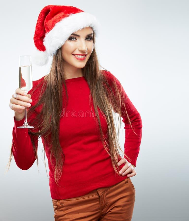 Il Natale ha isolato il vetro di vino della tenuta del ritratto della donna fotografie stock