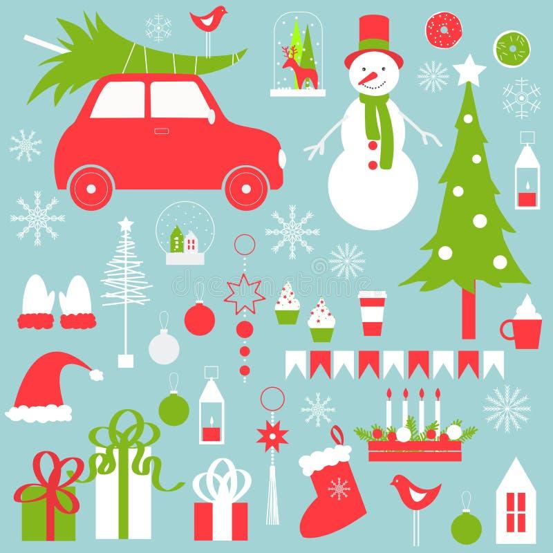 Il Natale ha messo con il pupazzo di neve e l'albero di Natale illustrazione di stock