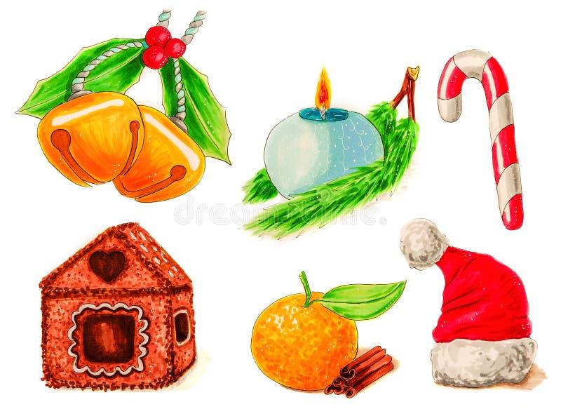 Il Natale ha messo dei simboli o degli elementi della decorazione isolati sull'illustrazione bianca immagine stock libera da diritti