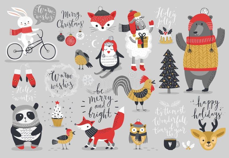 Il Natale ha messo, stile disegnato a mano - calligrafia, animali ed altri elementi illustrazione di stock