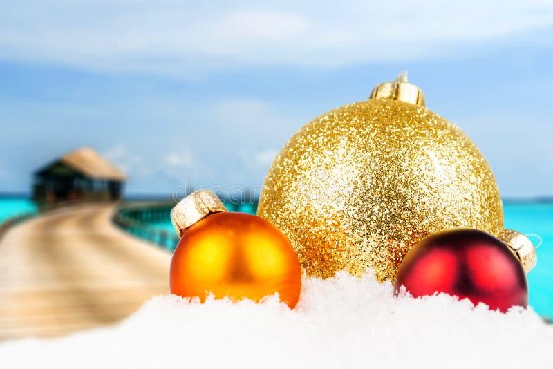 Il Natale ha motivato la parte anteriore con l'isola tropicale vaga immagine stock