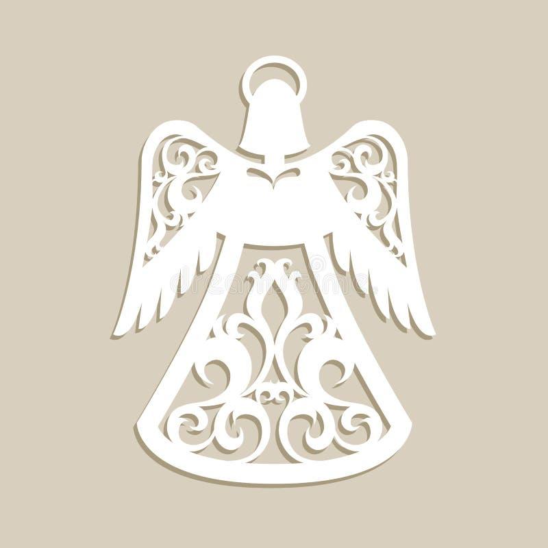 Il Natale ha scolpito l'angelo openwork illustrazione di stock