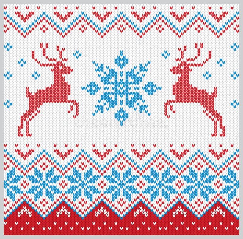 Il Natale ha tricottato il modello con l'insieme di vettore dei cervi e del fiocco di neve fotografia stock
