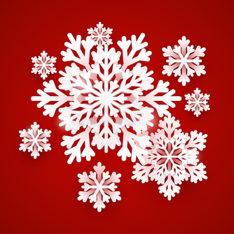 Il Natale incarta i fiocchi di neve su fondo rosso per la vostra progettazione di vacanza invernale illustrazione di stock
