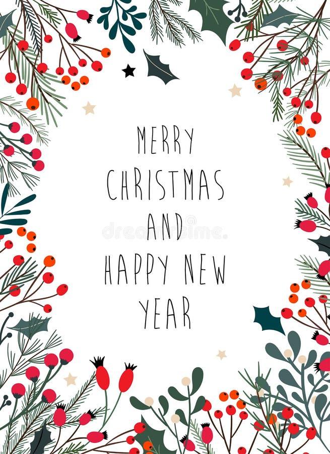 Il Natale incornicia con i rami decorativi, vischio illustrazione di stock