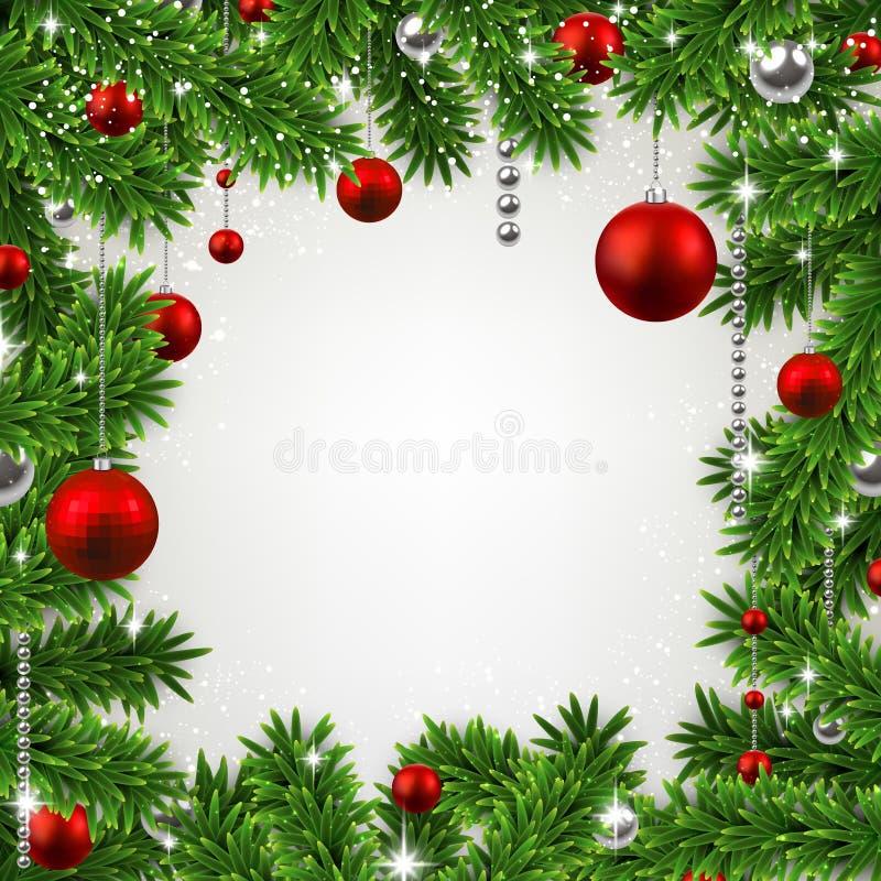 Il Natale incornicia con i rami e le palle dell'abete. royalty illustrazione gratis