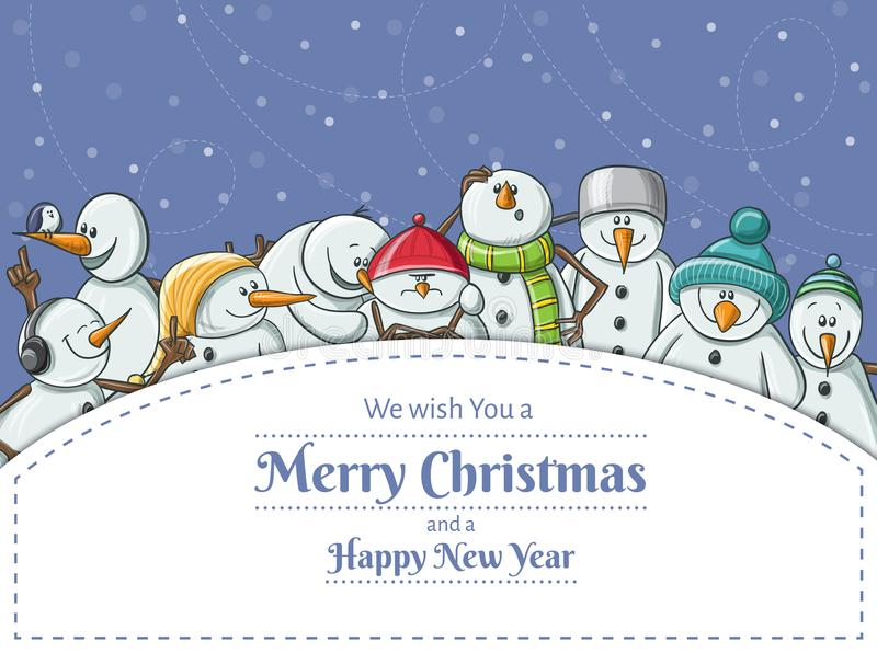Il Natale incornicia con l'illustrazione divertente della serie di caratteri del pupazzo di neve royalty illustrazione gratis