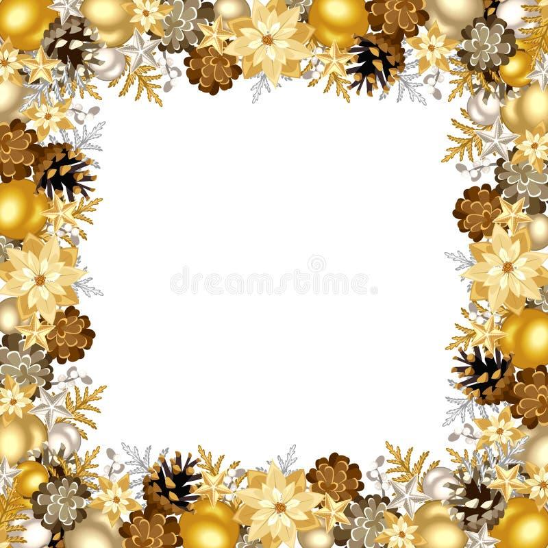 Il Natale incornicia con le palle dell'argento e dell'oro Illustrazione di vettore illustrazione vettoriale