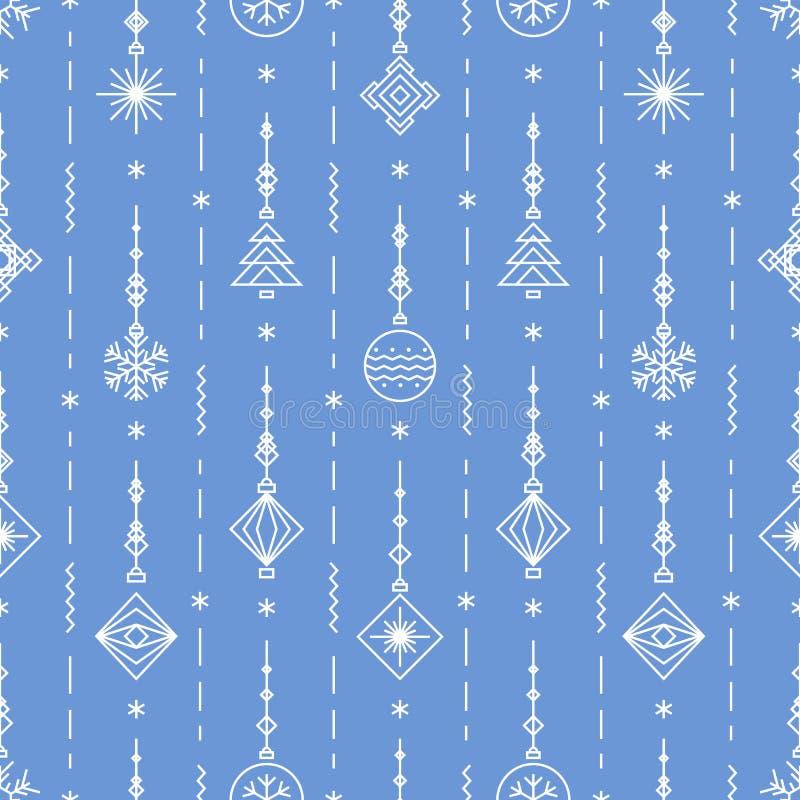 Il Natale modella con i nuovi anni gioca - l'albero, palla, linea stile di art deco del fiocco di neve illustrazione vettoriale
