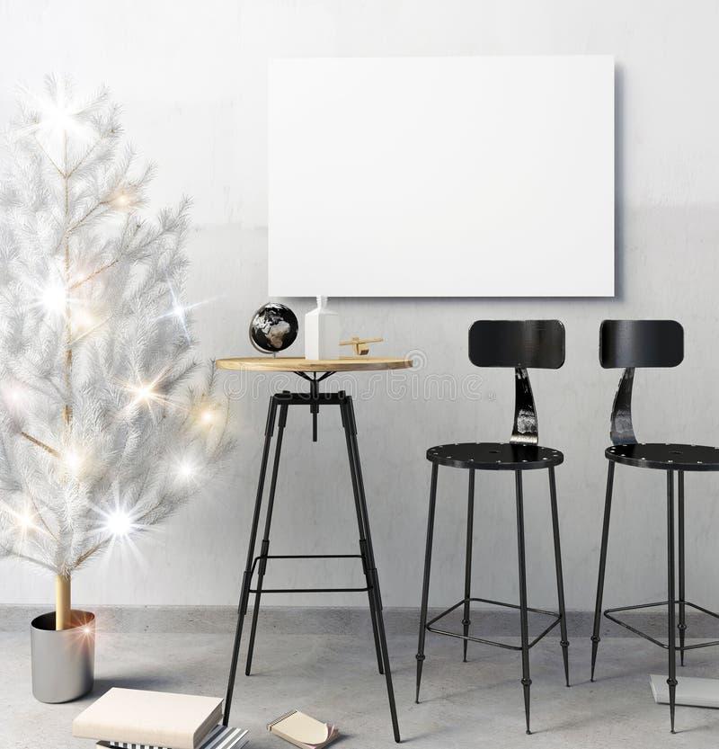 Il Natale moderno manda in aria l'interno della barra, consistente di un'area pranzante immagini stock libere da diritti