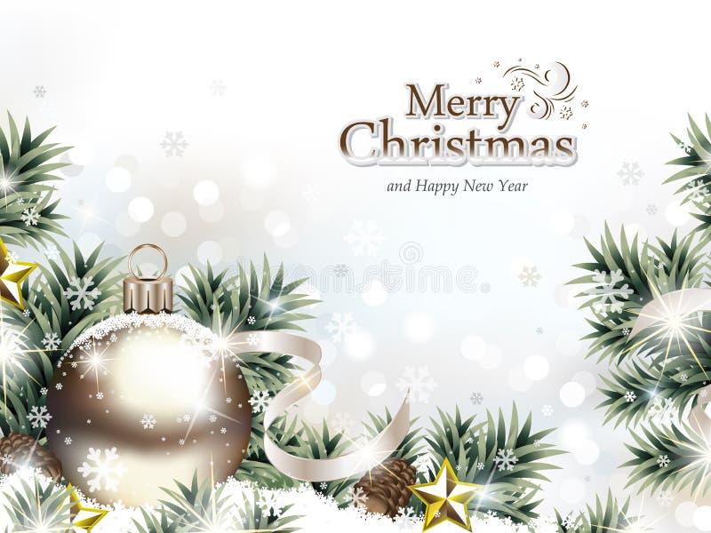 Il Natale orna nella neve con i rami di albero illustrazione vettoriale
