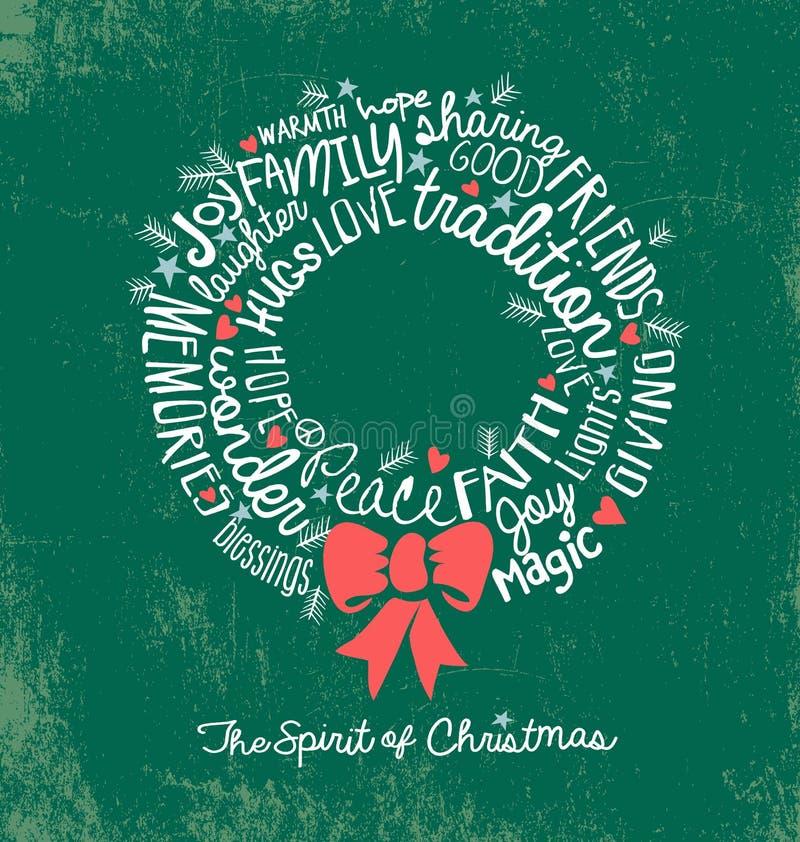 Il Natale scritto a mano della nuvola di parola avvolge la cartolina d'auguri di festa royalty illustrazione gratis