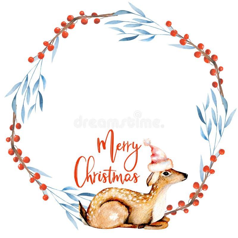 Il Natale si avvolge con i cervi dell'acquerello ed i rami dell'inverno royalty illustrazione gratis