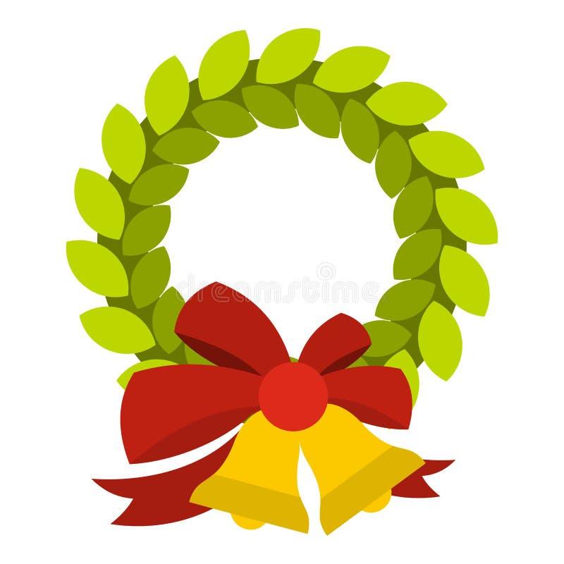 Il Natale si avvolge con l'icona della campana, stile piano illustrazione di stock