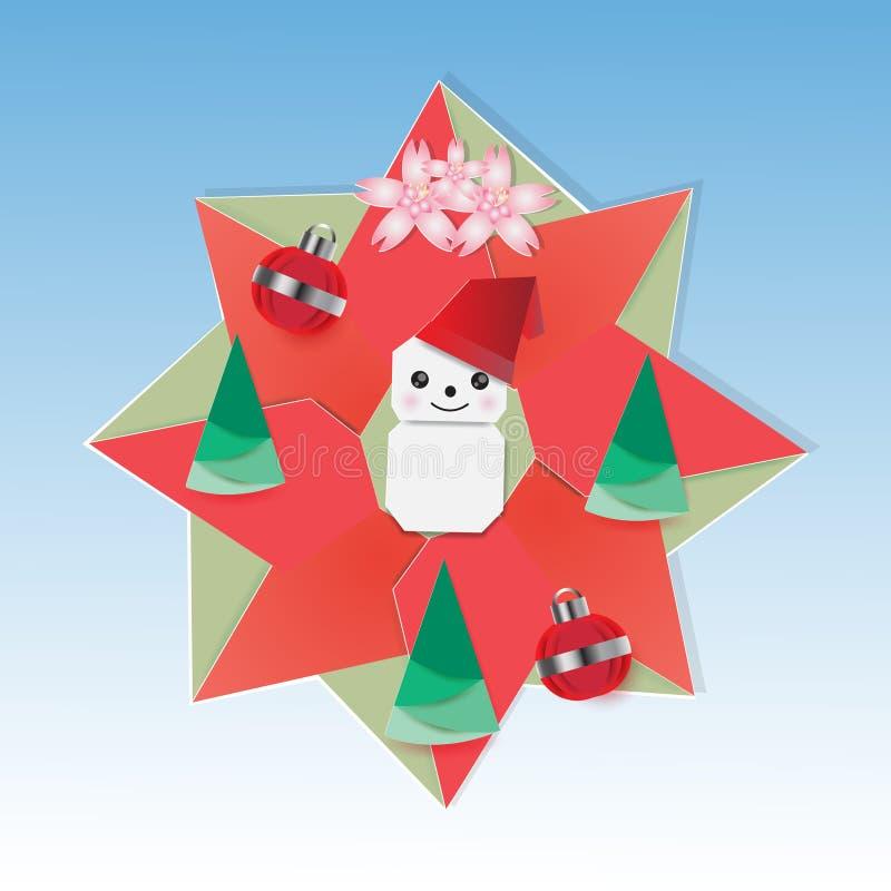 Il Natale si avvolge con il pupazzo di neve e l'abete illustrazione vettoriale