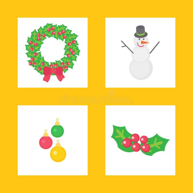 Il Natale si avvolgono e l'insieme delle icone del carattere del pupazzo di neve illustrazione vettoriale