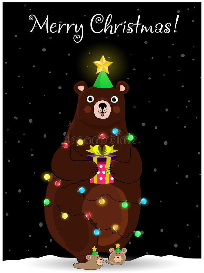 Il Natale sopporta nel giro del vento del cappello dell'albero di abete con la ghirlanda sul fondo nevoso di notte illustrazione vettoriale