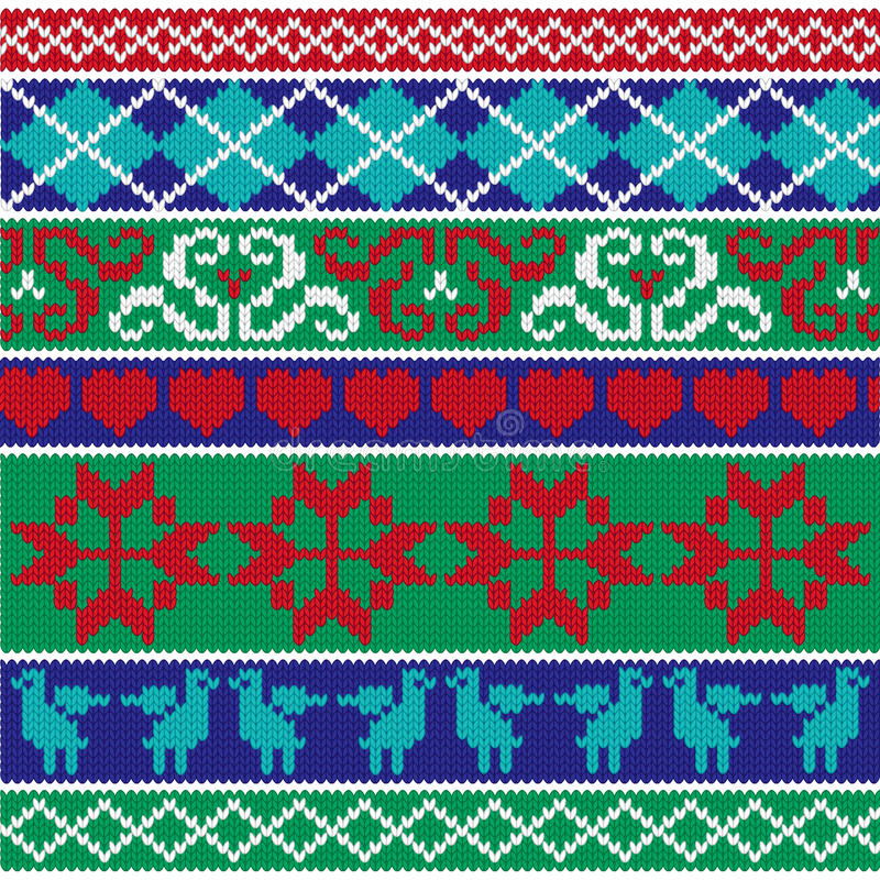 Il Natale tricotta i modelli del confine illustrazione vettoriale