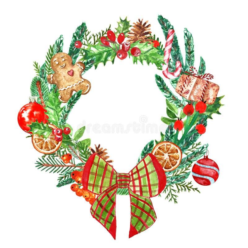 Il Natale variopinto festivo si avvolge con gli elementi ed i simboli della festa stagionale Pino e rami attillati, bastoncino di illustrazione vettoriale