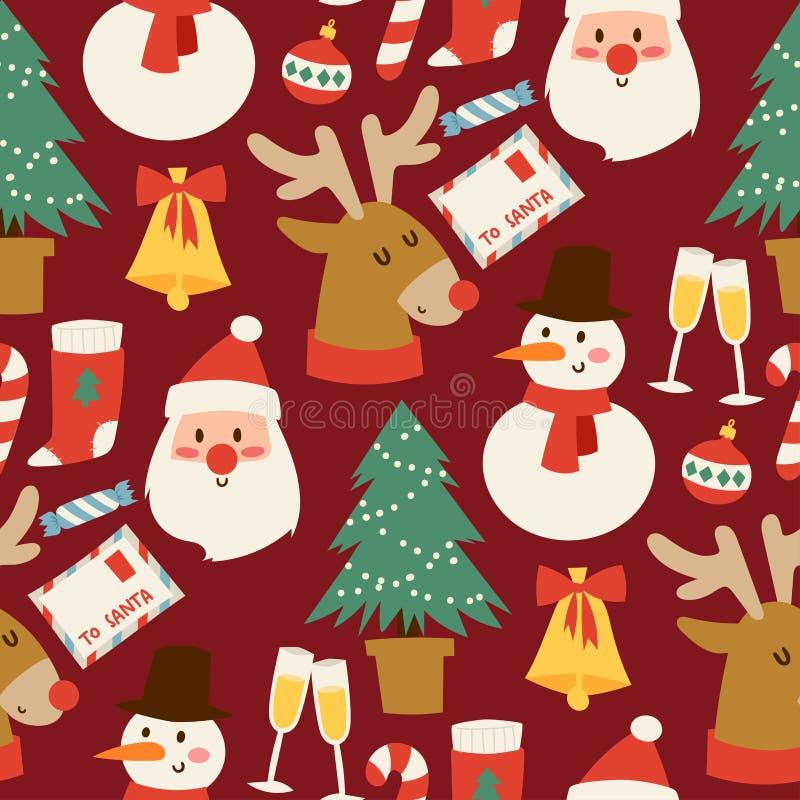 Il Natale vector il fondo senza cuciture del modello per progettazione della celebrazione del nuovo anno dell'inverno della carto illustrazione di stock