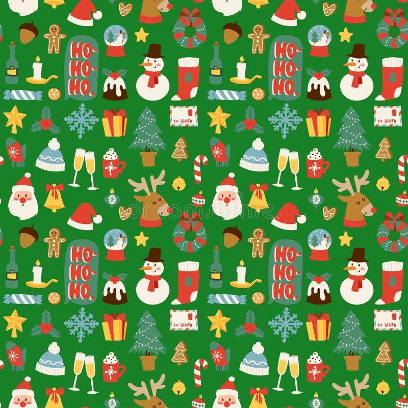 Il Natale vector il fondo senza cuciture del modello per progettazione della celebrazione del nuovo anno dell'inverno della carto illustrazione vettoriale