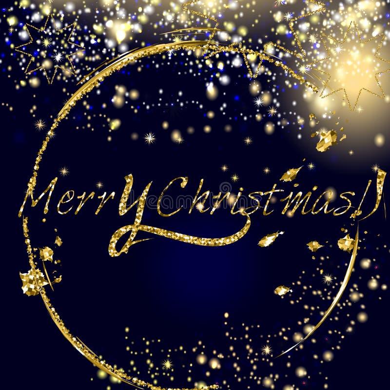 Il Natale vector il fondo dorato e d'argento delle particelle di scintillio illustrazione vettoriale