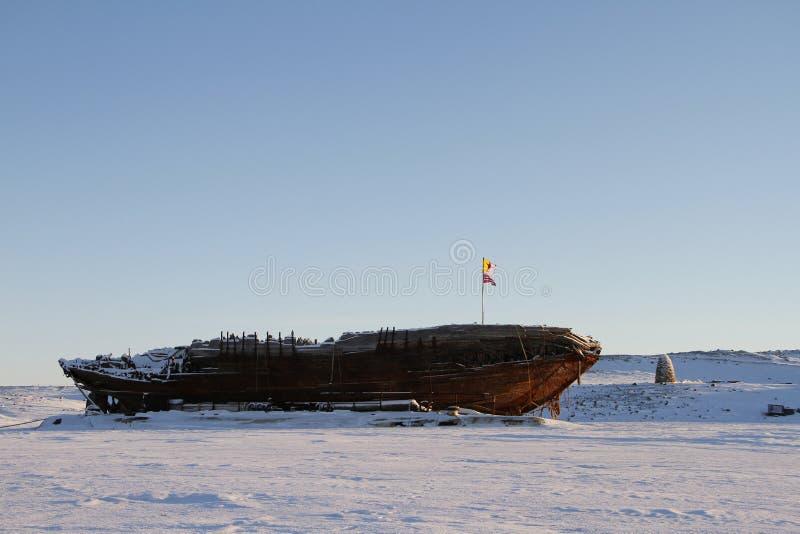 Il naufragio rimane del Maud, baia Nunavut di Cambridge fotografia stock libera da diritti