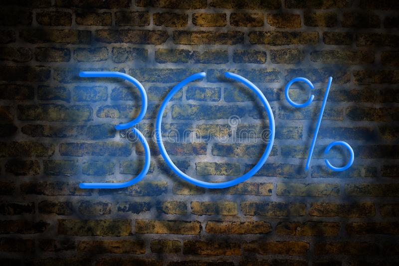 Il neon calcola 30 per cento su un fondo del muro di mattoni Il concetto di commercio, sconti royalty illustrazione gratis