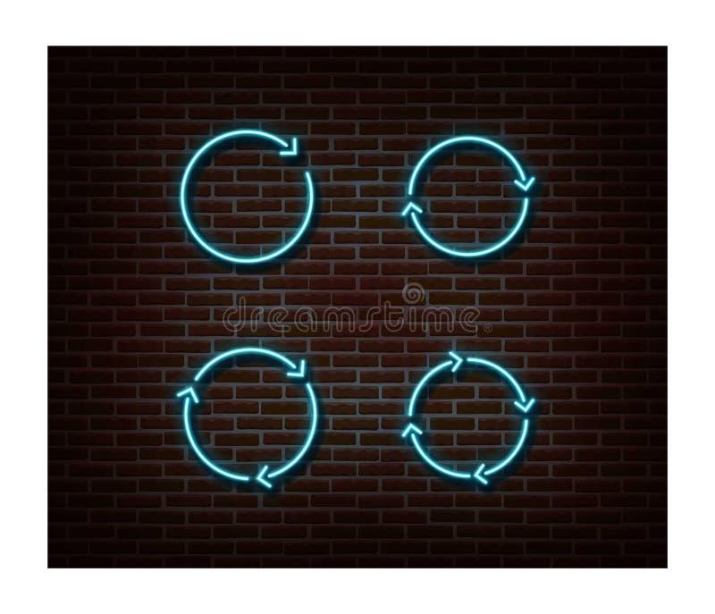 Il neon carica, ricarica il vettore dei segni isolato sul muro di mattoni Simbolo della luce del carico, effetto della decorazion fotografia stock libera da diritti