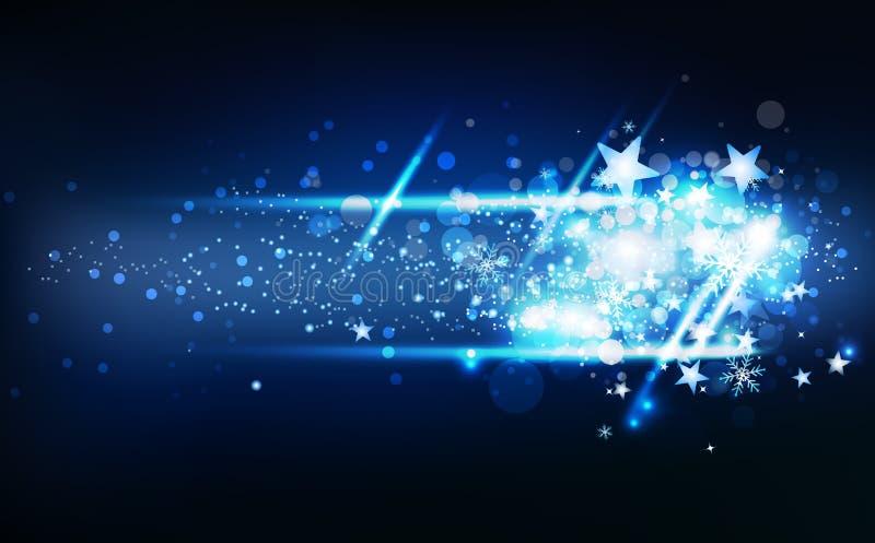 Il neon magico blu di effetto della luce delle stelle cadenti, la stagione invernale della decorazione, i coriandoli ed i fiocchi illustrazione vettoriale