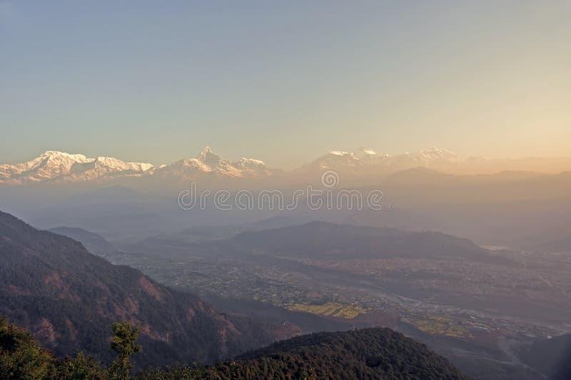 Il Nepal Pokhara, picco del Fishtail fotografia stock libera da diritti