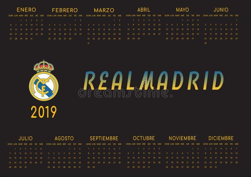 Il nero backgrounded il calendario 2019 di Real Madrid illustrazione vettoriale