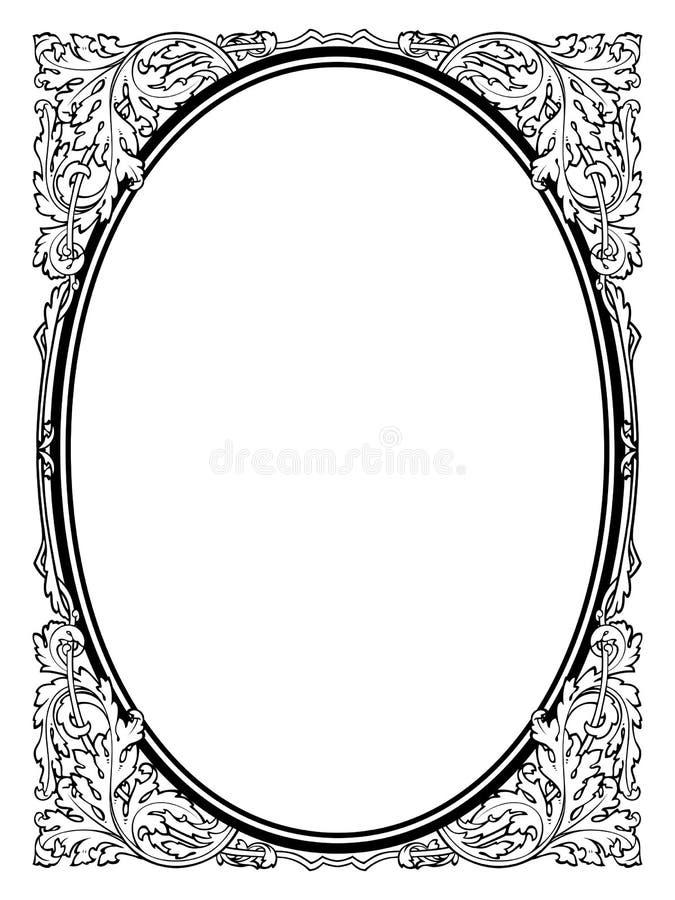 Il nero barrocco ovale della struttura di calligrafia di calligrafia illustrazione vettoriale