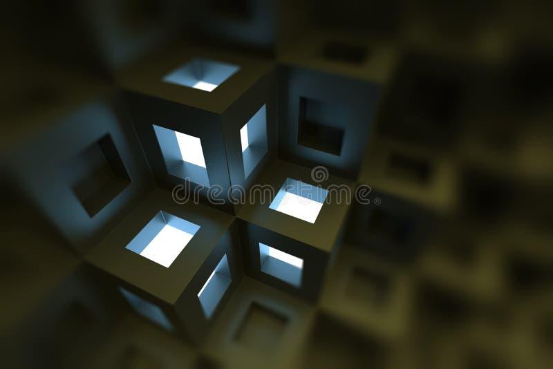 Il nero cuba la priorità bassa Progettazione grafica della geometria sacra illustrazione di stock