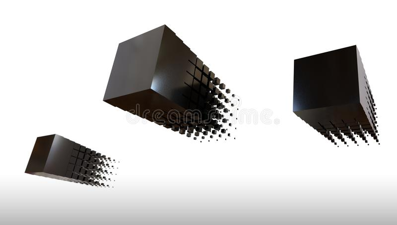 il nero 3d cuba il volo, la rappresentazione 3d illustrazione di stock