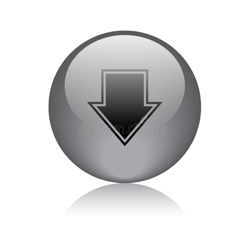 Il nero del bottone di download illustrazione vettoriale