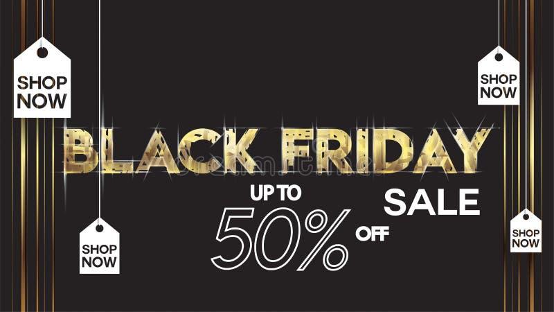 Il nero del fondo di progettazione della disposizione dell'insegna di vendita di venerdì ed offerta neri di sconto dell'oro 50% P illustrazione di stock