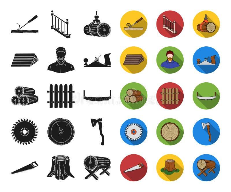 Il nero del legname e della segheria, icone piane nella raccolta stabilita per progettazione Web delle azione di simbolo di vetto illustrazione vettoriale