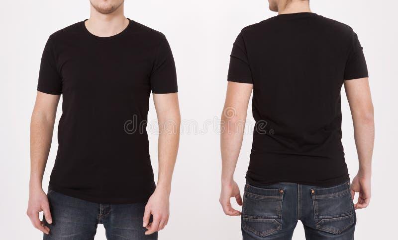 Il nero del modello della maglietta Vista anteriore e posteriore Derisione su isolata su fondo bianco fotografia stock